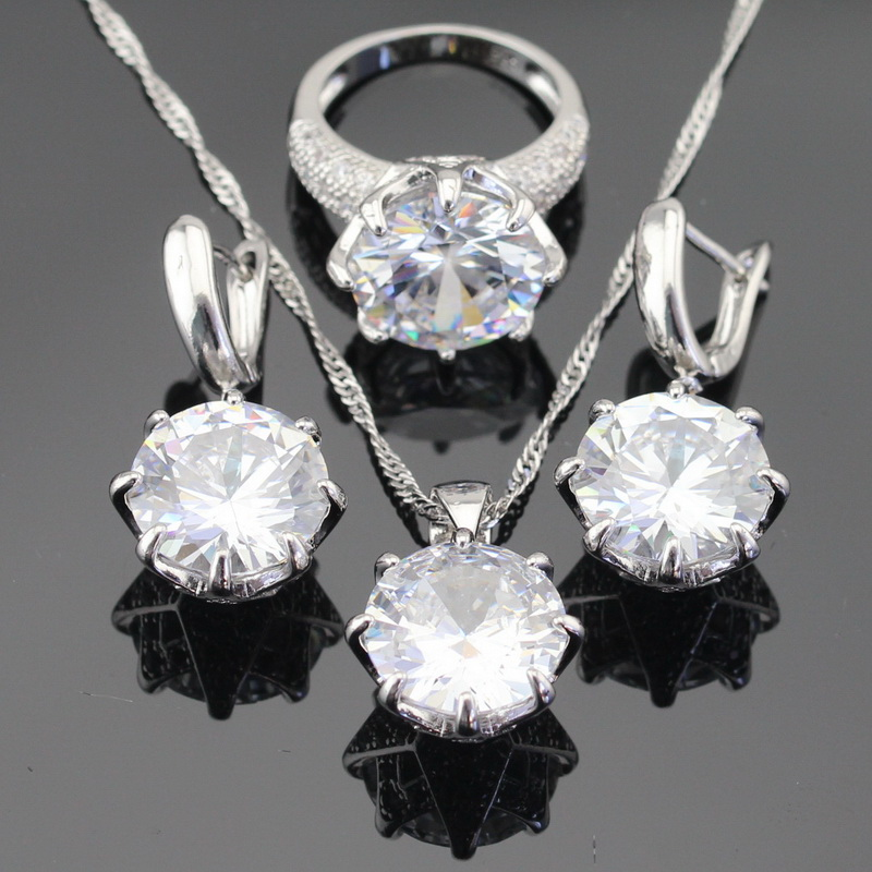 White Green Blue 3 Colors Stones Silver Color Jewelry Sets For Women Necklace Pendant Earrings Rings USA Size  Free Gift Box