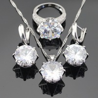 White Green Blue 3 Colors Stones Silver Color Jewelry Sets For Women Necklace Pendant Earrings