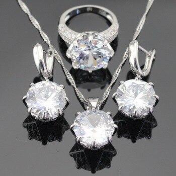 Blanco verde azul 3 colores piedras Color plata juegos de joyas para mujer collar pendientes colgantes anillos EEUU tamaño caja de regalo gratis