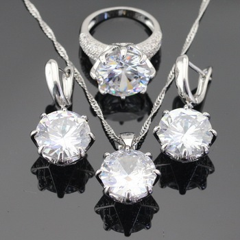 White Green Blue 3 Colors Stones Silver Color Jewelry Sets For Women Necklace Pendant Earrings Rings USA Size  Free Gift Box Fashion Jewelry