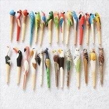 Wooden folk art animal carving new creative ballpoint pen,Animal shape pen, wood pens, hand carved pen