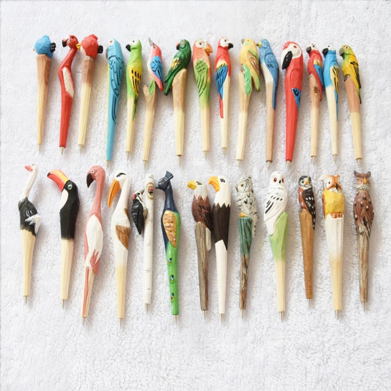 24pcs Christmas Gifts Novelty Hand made wood pen Sculptures Carving animal New Year Gifts Promotion for Christmas