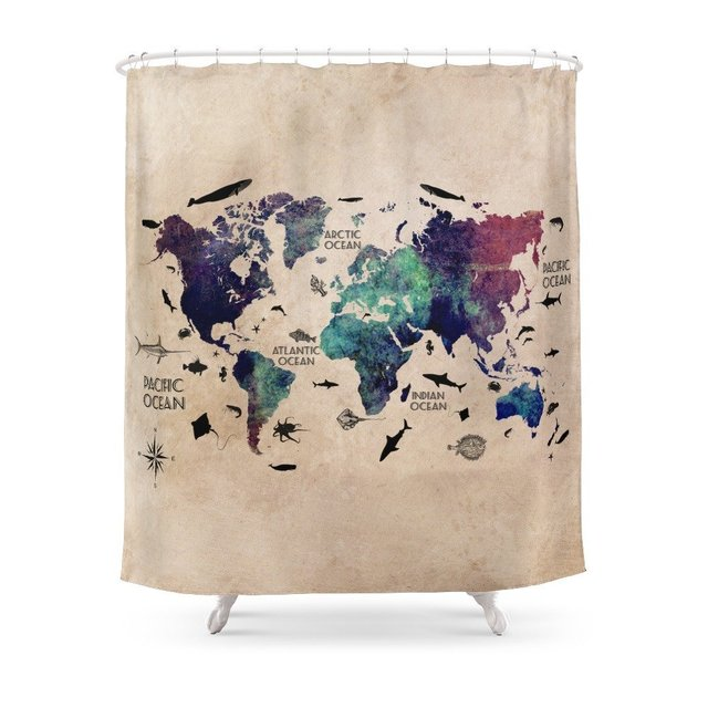 Oceans Life World Map Shower Curtain Customized Size