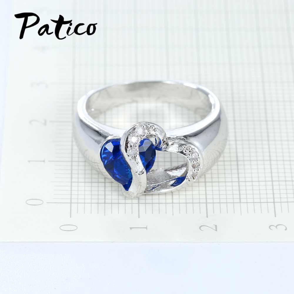 Blue CZ คริสตัล 925 เงินสเตอร์ลิงแหวนหัวใจ Cubic Zirconia สำหรับผู้หญิงเครื่องประดับหมั้นของขวัญ
