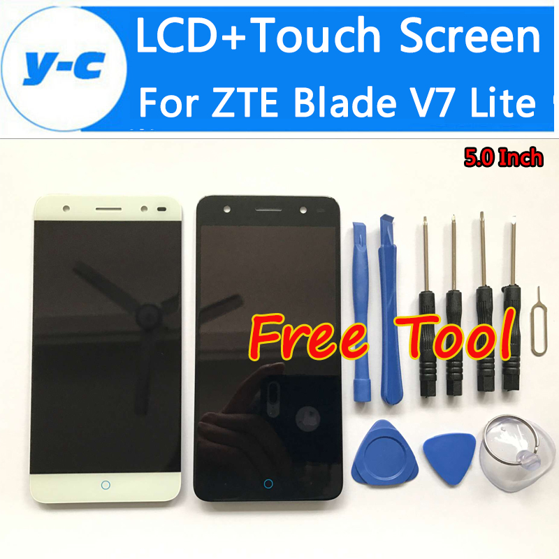 For ZTE Blade V7 Lite LCD Display+Touch Screen+Tool High Quality 100% New Glass Panel Digitizer Screen For ZTE Blade V7 Lite 5.0 for zte blade a610 lcd display touch screen 100