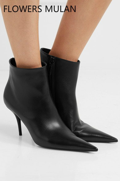 Spring New European Style Concise Women Boots Pointed Toe Black Leather Upper Ankle Boots Thin High Heels T Show Party Shoes the new spring and summer ms south korea ensure their boots comfortable show female water thin antiskid tall canister shoe