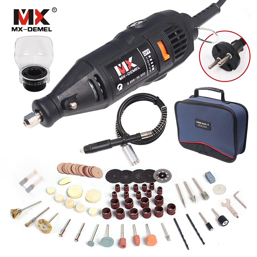 MX-DEMEL 220V 130W Dremel Style Electric Rotary Tool Variable Speed Mini Drill with Flexible Shaft 131PC Accessories Power Tools  tungfull 130w dremel style electric rotary tool variable speed mini drill with flexible shaft and 124pc accessories power tools