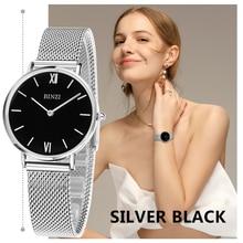 BINZI Mujeres Relojes de Marca de Lujo Reloj de Cuarzo Mujeres Oro Plata Reloj Pulsera Señoras Reloj de pulsera de Moda Reloj Del Relogio Feminino