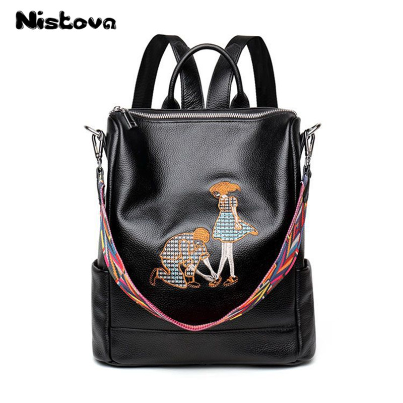 Genuine Leather Embroidered Backpack for Women Elegant Ladies Travel School Shoulder Bag High Quality Daily Bagpack