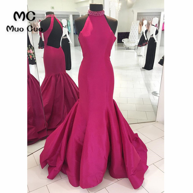Hot Pink 2018 Mermaid Evening Dress Prom Dresses Long Halter ...