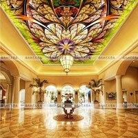 Custom Continental ceiling murals living room bedroom embossed 3D wallpaper 3D stereoscopic 3D wallpaper peacock feathers zenith