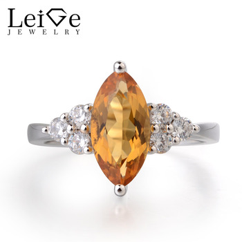 Leige Jewelry Natural Citrine Ring Engagement Ring Marquise Cut Yellow Gemstone Solid 925 Sterling Silver Romantic Gift for Girl