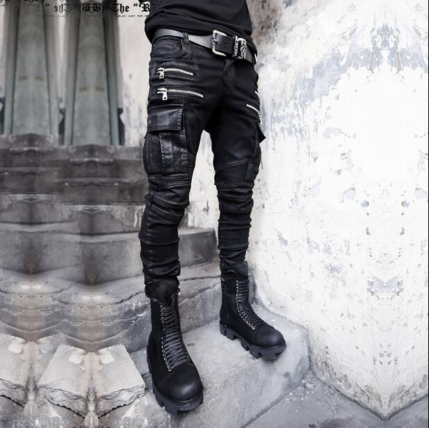 ФОТО 2017 punk Personality more zipper pocket street skinny 1 jeans men pant man denim trousers mens feet pants coating jeans