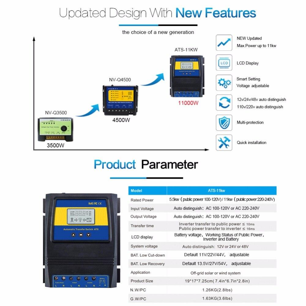 Automatique ATS double commutateur de transfert de puissance contrôleur de Charge solaire pour système de vent solaire DC 12V 24V 48V AC 110V 220V grille marche/arrêt - 2
