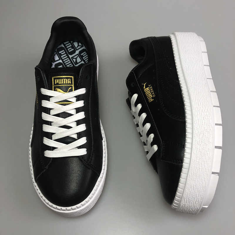 official photos dd2e5 d392e PUMA FENTY Suede Cleated Creeper Women's First Generation Rihanna Classic  Basket Suede Tone Simple Badminton Shoes