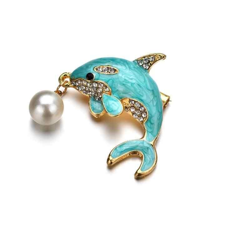 2018 New Hot Simulasi Mutiara Blue Dolphin Bros untuk Wanita Crystal Enamel Alloy Hewan Bros Pin Pernikahan Pesta Perjamuan