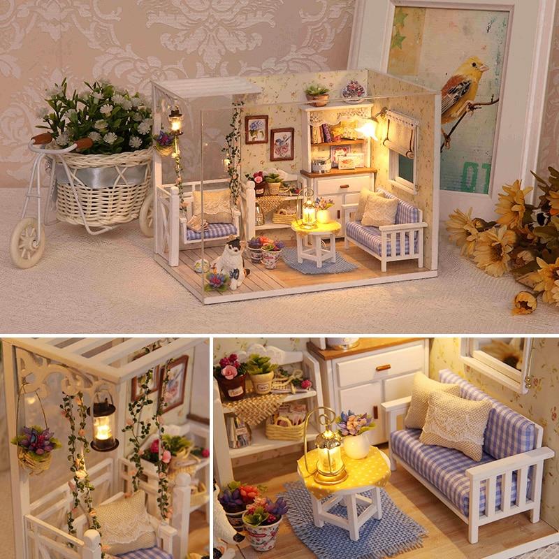DIY Doll House Furnitures Miniature Doll house Dust Cover Wooden Dollhouse Light Handmade House For Dolls Toys For Children|Doll Houses| |  - title=