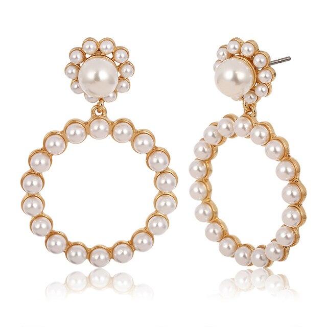 Trendy Crystal Round Pendant Pearl Drop Earrings For Women 2