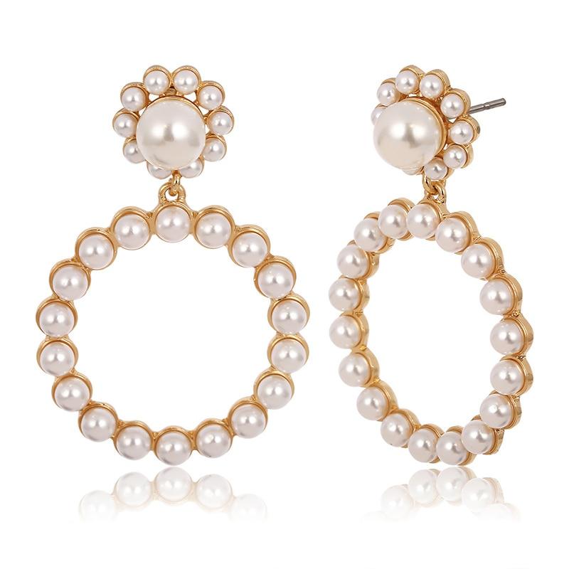 AENSOA Trendy Crystal Round Pendant Drop Earrings For Women Fashion Pearl Charm Statement Jewelry Wedding Earrings Female 2019 2