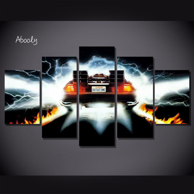 5Piece Wall Art Picture Back To Future Poster Car Canvas Art Posters Printed Home Decor Game Picture For Living  Room 4