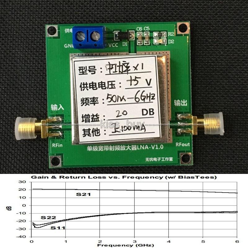 50 м-6 ГГц 20 дБ широкополосный RF усилитель LNA 1-6 г 20 дБ усиление HF VHF / UHF FM Ham Радио усилители