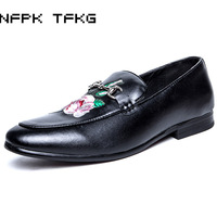 Big Size Men Party Nightclub Wear Embroidery Genuine Leather Shoes Slip On Driving Flat Shoe Flower