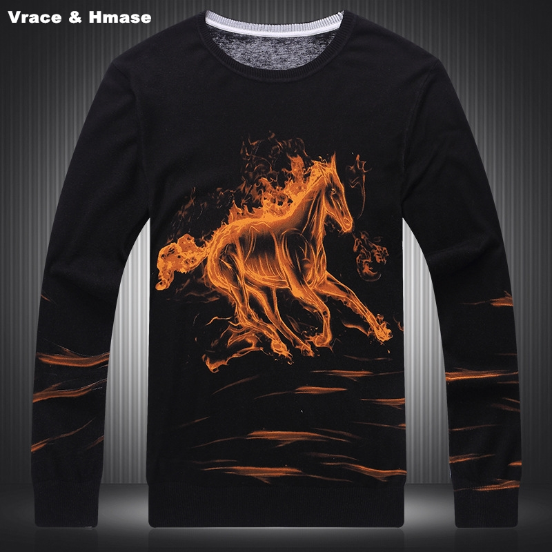 Wool Sweater Flames Winter Fashion Cotton M-3XL Autumn Fire-Horse-Pattern Printing Personality