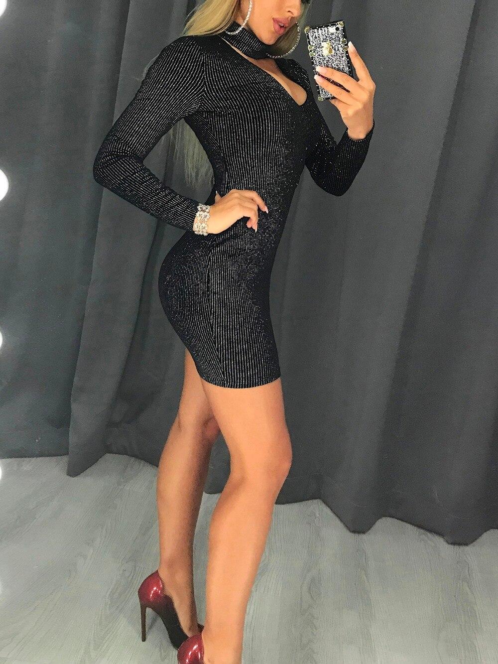 Black Long Sleeve Bodycon Glitter Dress