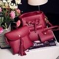 TTOU 4 Pieces One Set Composite Bag Fashion Bucket Bag for Women Tassel Shoulder Messenger Bag Casual Women Handbag