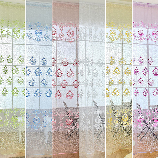 Superior New Fashion Design Modern Transparent Hook Floral Print Curtains For Window  Home Office Room