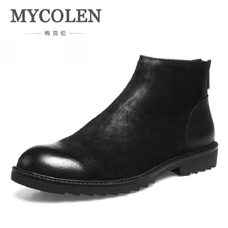 MYCOLEN Men Boots Comfortable Black Winter Ankle Boots Casual Men Genuine Leather Snow Boots Zipper Winter Shoes Winterjas Heren kinyued fashion tourbillon skeleton watch men sport luxury brand mens automatic mechanical watches calendar relogio masculino