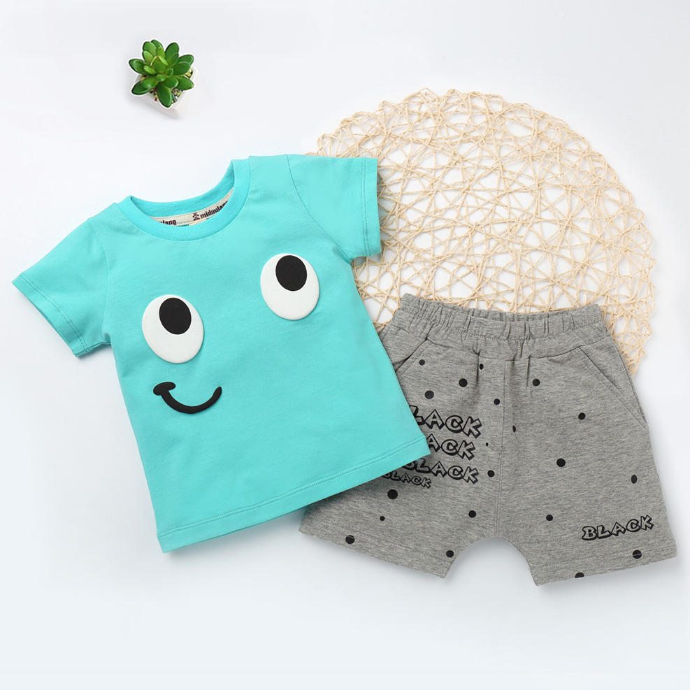 New Children's Clothing sets For Baby Boys and Toddler Girls Funny Pullover T Shirts Summer Short Pants Cute Kids Cotton Clothes 3concept eyes 4 pen style moisturizing lipstick lip gloss pink