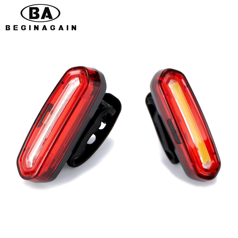 Cycling Bicycle Bike USB Tail Light Rear Safety Warning LED COB Flashing Bulbs V