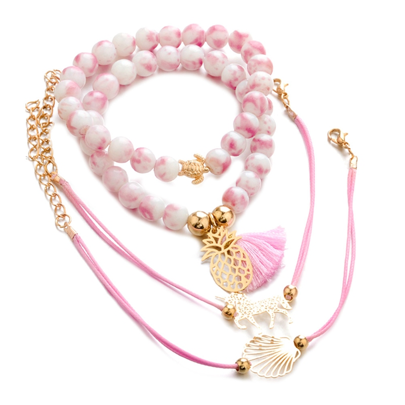2019 New Bohemian Accessories Pink Handmade Rope Beaded Beads Unicorn 4 Pieces Set Bracelets For Women Jewelry Bangle Attractive And Durable