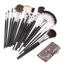 Professional High Quality 18pcs Makeup Brush Set Beauty Brushes Tools Kit With Sliver Leather Bag недорого