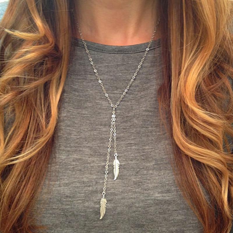 Лето Модный Золотое Покрытие Цепи Ожерелье Металла Перо Ожерелье для Женщин XL061