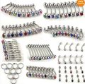 100pcs 10styles wholesale body jewelry lots belly tongue lip crystal stainless steel piercings free shipping