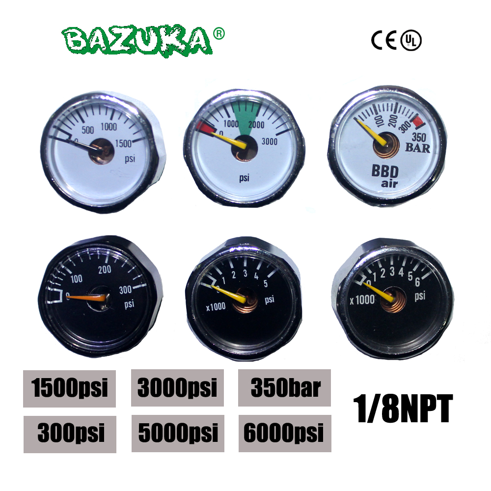 New Paintball Acessorios PCP Air Gun Airsoft Mini Gauge Manometer 350bar  300psi  1500psi  3000psi  5000psi  6000psi 1/8NPT