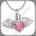MJD8496 Stainless steel cremation jewelry keepsake urn memorial ashes necklace winged crystal heart
