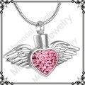 MJD8496 aço Inoxidável jóias keepsake urn da cremação memorial cinzas colar asas do coração de cristal