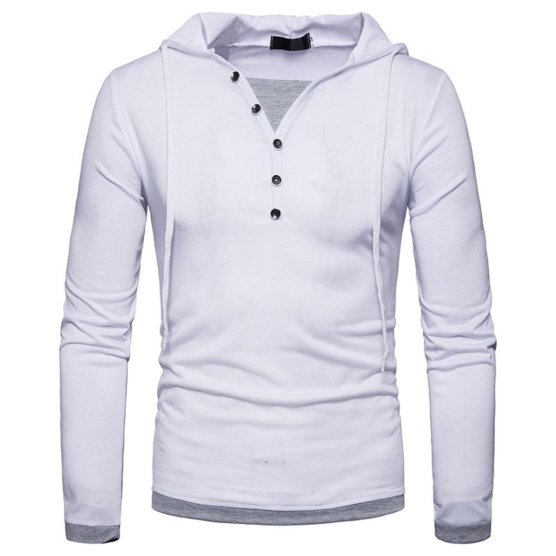 New Arrivals 2018 T shirt style men fashion slim Buttons decoration Men 39 s popular patchwork color long sleeved t shirt EU size in T Shirts from Men 39 s Clothing