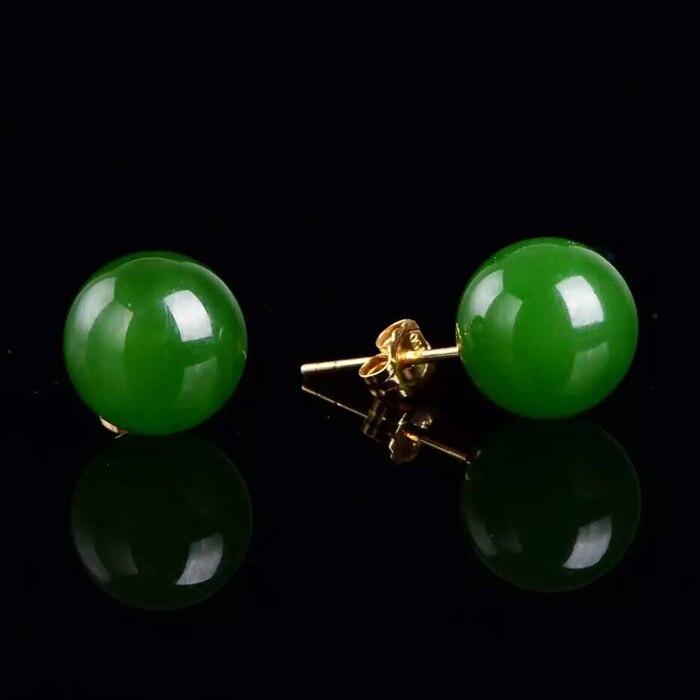 Boucles d'oreilles en jade naturel incrusté d'or 18 k