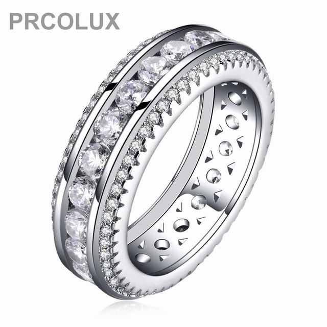 prcolux vintage female geometric ring set 925 sterling silver jewelry white cz wedding engagement rings for - Cz Wedding Ring Sets