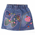 Children skirts baby butterfly flower heart pattern embroidery crystal button denim mini kid skirt MH5350