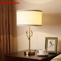 American Copper Table Lights Bedroom Lighting lampara led escritorio bedside lamp LED Bedside Hotel Study lampara mesa noche