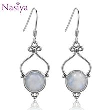 Romantic Women's Engagement Moonstone Drop Earrings Classic 925 Sterling Silver Jewelry For Anniversary Party Brthday Gift