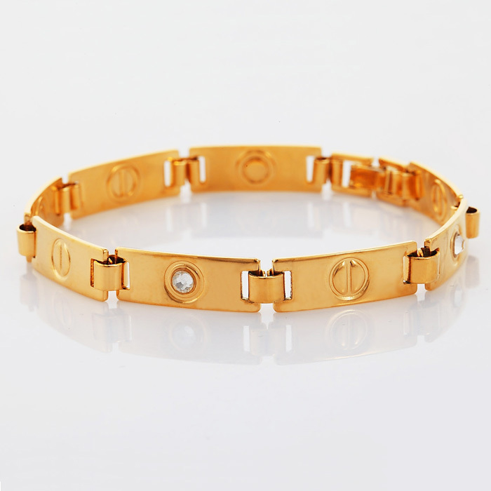 Collare New Brand Design Crystal Love gift Bracelet Men/women Gold ...