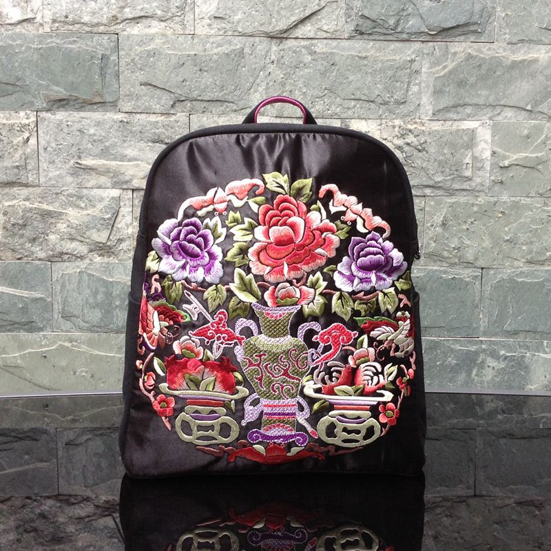 Nation Style Woman Canvas Youth College Embroidery Flower Zipper Shoulder Rucksack Multifunction Travel Backpack Casual Totes