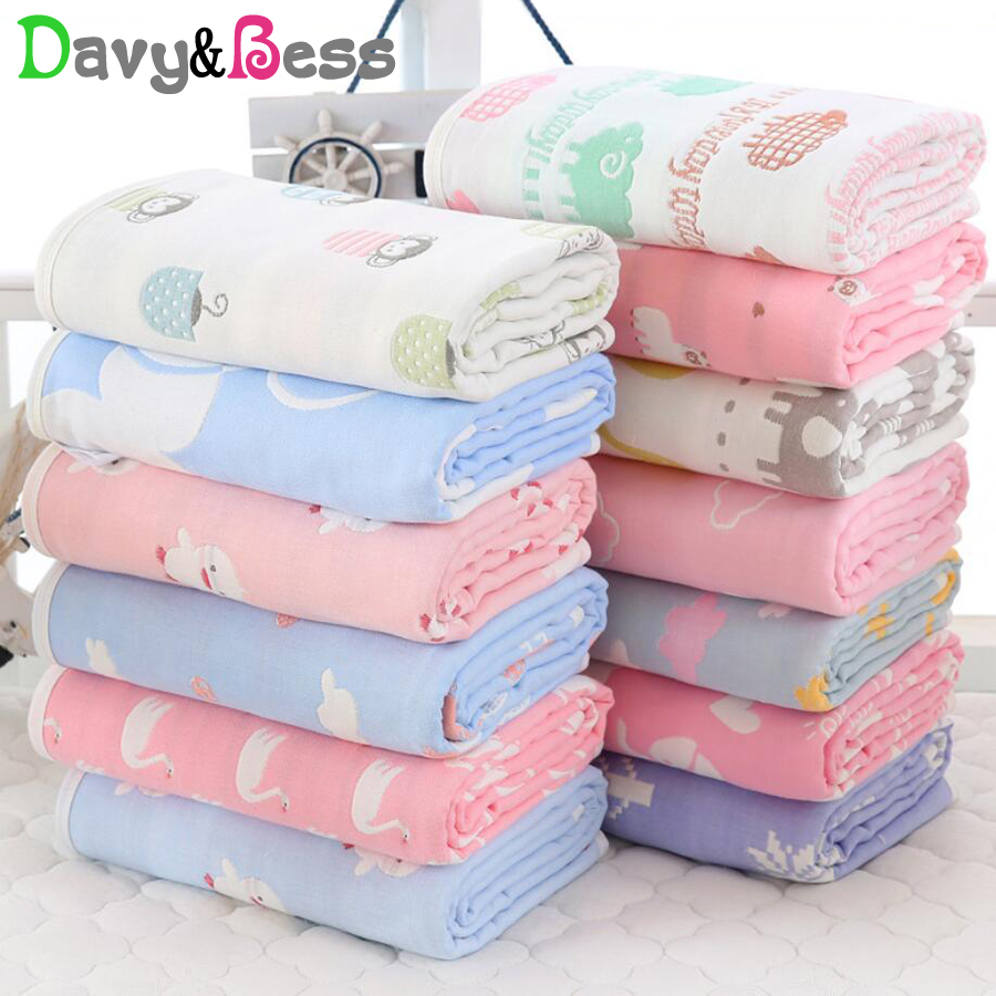 6 Layers Muslin Baby Blanket Newborn Cotton Muslin Swaddle Wrap Children's Blanket Baby Swaddle Blanket Square Winter Quilt Bath
