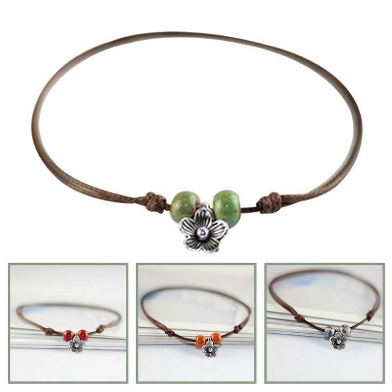 Винтажные Ювелирные изделия для женщин Простые керамические ножные браслеты шармы Веревка Цепь Пляж Лето браслет на лодыжку подарок